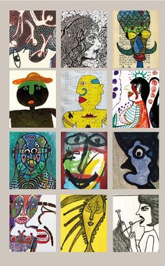 A variety of faces by twelve outsider artists: Fanouchka, Jen Kendall, Melchior Winter-Langhagen, Mose Tolliver, Paco Felici, John Henry Toney, Noviadi Angkasapura, Jaber al-Mahjoub, Pierre Albasser,George Jagiello EMO, Ernst Kolb and Marilena Pelosi (info about artist and much more on www.outsider-art-brut.ch / www.aussenseiterkunst.ch)