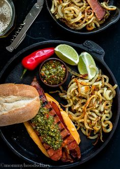 Bacon Choripan with Chimichurri Sauce - A mouthwatering addition to any Super Bowl party. Hands down, this is the best sandwich I have ever made. https://mommyshomecooking.com