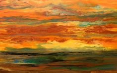 """Kimberly Conrad Contemporary Abstract Art """"Pouring Color Into Your Life"""": Original Abstract Landscape Painting """"Blazing Sky Reflected IV"""" by Colorado Abstract Artist Kimberly Conrad"""
