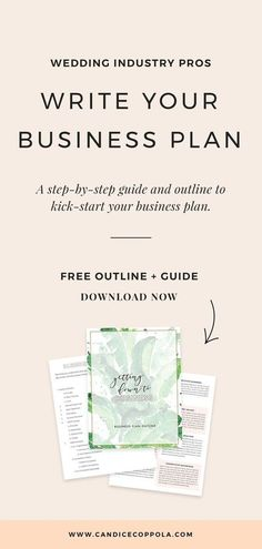 Are you in the wedding industry? Download this free wedding business plan template, which is a step-by-step guide and outline on how to kick-start your business plan. You deserve to have successful strategies for your business. #businessplan #weddingplanners #weddingpros #candicecoppola Business Plan Outline, Free Business Plan, Business Advice, Business Planning, Business Names, Online Business, Business Plan Template Free, Salon Business, The Plan