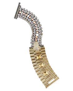 Ioselliani Brass, Crystal and Leopard Skull Bracelet