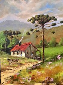 Nill de tudo um pouco: Pinturas imagens da roça Farm Paintings, Scenery Paintings, Amazing Paintings, Watercolor Bookmarks, Watercolor Paintings, Landscape Art, Landscape Paintings, Arte Country, Cottage Art