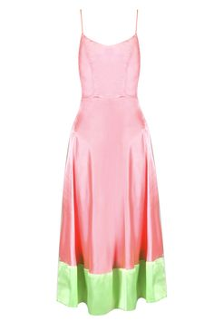 Pink and green satin long dress BY MASABA LITE. Shop now at perniaspopupshop.com #perniaspopupshop #clothes #womensfashion #love #indiandesigner #masabalite #happyshopping #sexy #chic #fabulous #PerniasPopUpShop #ethnic #fun