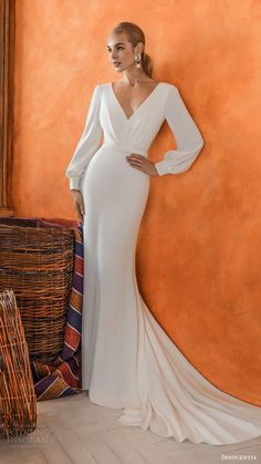 24 Gorgeous Spring Wedding Dresses spring wedding dresses sheath with long sleeves v neckline simple innocentia Wedding Dresses Plus Size, Princess Wedding Dresses, Modest Wedding Dresses, Bridal Dresses, Lace Dress With Sleeves, Wedding Dress Sleeves, Long Sleeve Wedding, Black Cocktail Dress, Mermaid Dresses