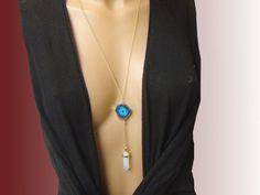 Lunga collana agata geode blue celeste opale di Frammentidivetro
