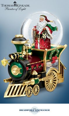 Saint Nick is taking an alternate mode of transportation this year! Bring home a bounty of holiday cheer with this Thomas Kinkade Santa snowglobe with musical Santa train. Christmas Snow Globes, Christmas Train, Diy Christmas Gifts, Merry Christmas, Christmas Decorations, Christmas Ornaments, Holiday Gifts, Xmas, Thomas Kinkade Art