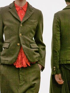 Green and red Fashion Details, Look Fashion, Womens Fashion, Fashion Design, Comme Des Garcons, Cool Jackets, Red Skirts, Mode Inspiration, Sweater Shirt