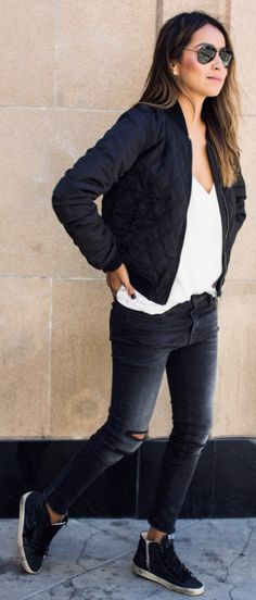classically androgynous style + Julie Sarinana+ cute quilted bomber jacket + skinny black jeans + matching sneakers + simple white V neck tee    Jacket: Shop Sincerely Jules.