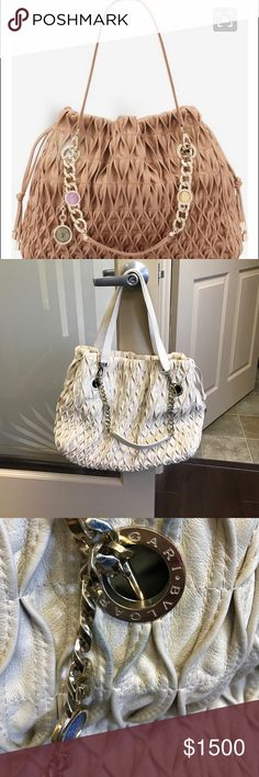 Bulgari monte shoulder bag Ivory woven leather Bvlgari shoulder bag with gold-tone hardware, chain link and leather handles featuring multicolor enamel embellishments, beige color lining, three pockets at interior walls; one with zip closure and drawstring closures at sides. Gently used. Some worn spots- one pictured. 💯authentic Bulgari Bags Shoulder Bags