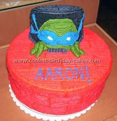 This is a buttercream frosting and fondant cake. It's a with two round cakes cut in half and stacked to make the city on the si Diy Birthday Cake, Homemade Birthday Cakes, Bingo Cake, Marble Cake, Diy Cake, Round Cakes, Buttercream Frosting, Teenage Mutant Ninja Turtles, Fondant