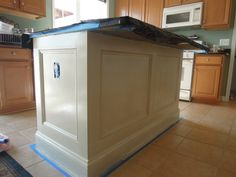 DIY kitchen island remodel - DIY kitchen island remodel – The Effective Pictures We Offer You About kitchen - Kitchen Island Molding, Kitchen Island Makeover, Painting Kitchen Cabinets, Kitchen Islands, Kitchen Facelift, Narrow Kitchen, Kitchen Makeovers, Kitchen Upgrades, Kitchen Counters