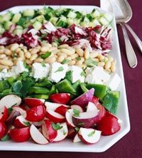 Chopped Holiday Salad- I replaced the peppers with chopped tomatoes and tossed it together rather than do the striped presentation. Chick peas or black beans would work in place of the cannellini beans. Tasty, healthful and easy!