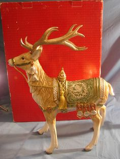 "Fitz and Floyd Gregorian Collection Large Deer Reindeer Figurine 19"" w Box"