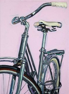 Lady Spaceliner on Pink - Canvas 7 | Bicycle Paintings, Prints and Custom Bike Art Portraits
