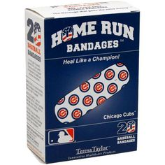 """MLB Chicago Cubs Home Run Bandages by Football Fanatics. $6.95. Imported. Child sizes measure 3/4"""" x 2 3/4"""" & adult sizes measure 1"""" x 3"""". Team colors & logos. Officially licensed MLB product. Chicago Cubs Home Run BandagesTeam colors & logosImportedChild sizes measure 3/4"""" x 2 3/4"""" & adult sizes measure 1"""" x 3""""Officially licensed MLB productPack of 20Pack of 20Team colors & logosChild sizes measure 3/4"""" x 2 3/4"""" & adult sizes measure 1"""" x 3""""ImportedOfficially licensed MLB product"""