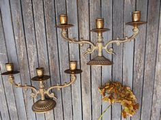 paire de chandeliers à 3 branches  chandelles  bougeoirs