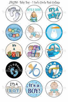 Pre Cut Bottle Cap Images Digital Collage Sheet Baby Boy R355 1 inch Circles | eBay