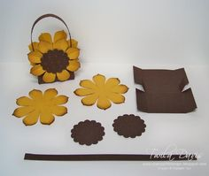 Stamp A Little Longer: Sunflower Treat Boxes 3d Paper Crafts, Paper Gifts, Candy Crafts, Paper Art, Fall Crafts, Diy And Crafts, Mini Sunflowers, Packaging Box, Sunflower Cards