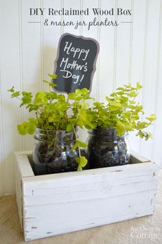 Make an easy DIY reclaimed wood box with mason jar planters for a fun Mother's Day, birthday, or hostess gift idea. Unique and personal, it also is thrifty and thoughtful - click for the tutorial!