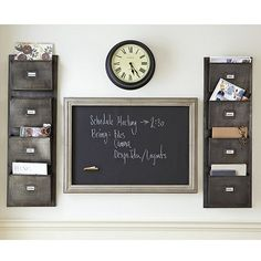 wall pockets and magnetic chalkboard