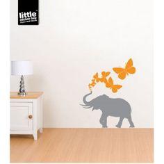 Butterfly Elephant Wall Sticker Decal