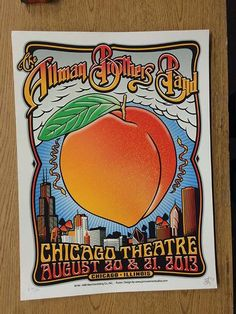Original silkscreen concert poster for The Allman Brothers Band at The Chicago Theatre in Chicago, IL in 2013. 18 x 24 inches. Signed and numbered out of 650 by the artist John Warner.