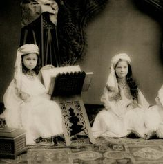 Ottoman princesses learning to read the Holy Quran in 1905