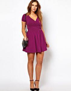 ASOS CURVE Exclusive Skater Dress With Ballet Wrap And Short Sleeve