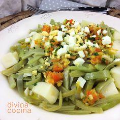 Esta ensalada templada de judías verdes la tienes lista en pocos minutos y es sabrosa y natural. Puede prepararse la misma receta con brócoli en lugar de judías verdes.