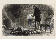 Proof of an illustration by Luke Fildes for The Mystery of Edwin Drood by Charles Dickens