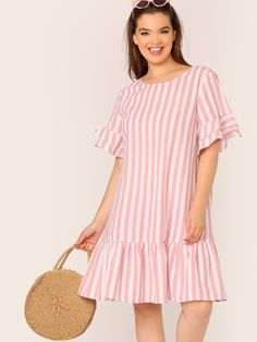 To find out about the Plus Ruffle Trim Drop Waist Striped Dress at SHEIN, part of our latest Plus Size Dresses ready to shop online today! Ruffle Trim, Ruffle Dress, Striped Dress, Plus Size Womens Clothing, Plus Size Fashion, Plus Size Dresses, Plus Size Outfits, Outfit Vestidos, Dress Shapes