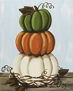 Social Artworking Canvas Painting Design - Stacked Pumpkins This stack of rustic pumpkins makes you want to go right out to the patch to pick some real ones. The muted fall palette is popular in home decor right now but can be swapped out to match any hom Pumpkin Canvas Painting, Canvas Painting Designs, Autumn Painting, Autumn Art, Tole Painting, Fall Paintings, Sunset Paintings, Canvas Designs, Halloween Painting