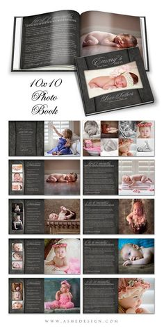 Photo Book Journal Babys First Year- CHALKBOARD - Photoshop Templates for Photographers. 10x10 Photo Book - 20 Pages Plus Cover Design
