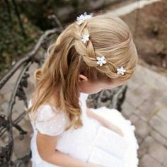 35 Cute & Fancy Flower Girl Hairstyles for Every Wedding, Communion Hairstyles, Dance Hairstyles, Bandana Hairstyles, Flower Girl Hairstyles, Bride Hairstyles, Pretty Hairstyles, Easy Hairstyles, Kids Hairstyles For Wedding, Girls Updo