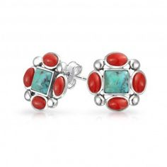 Bling Jewelry Turquoise Simulated Carnelian Resin Sterling Silver Stud Earrings