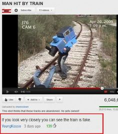 you tube fake train funny pics pictures pic picture image photo images photos lol Funny Shit, Funny Posts, The Funny, Hilarious, Funny Stuff, Random Stuff, Memes Humor, Funny Memes, Funniest Memes
