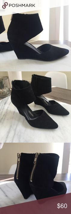 """Anthropologie Black Leather Suede Wedge By Pied Juste, purchased at Anthropologie  Fits true to size Zip closure Leather upper, insole Rubber sole 3"""" rubber heel excellent condition, just minor scuffs on bottom soles. No trades please. Anthropologie Shoes Heels"""