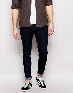 Cheap Monday Jeans Him Spray Super Skinny Fit Ice Stripes Blue