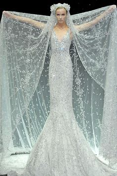 Elie Saab - looks like a dress for a ice queen Beautiful Gowns, Beautiful Outfits, Beautiful Mermaid, Stunningly Beautiful, Bridal Gowns, Wedding Gowns, Blue Wedding, Glitter Wedding, Wedding Veil