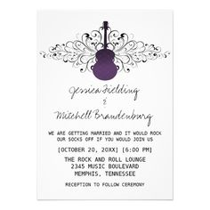 Discount DealsPurple Swirls Guitar Wedding Invitationyou will get best price offer lowest prices or diccount coupone