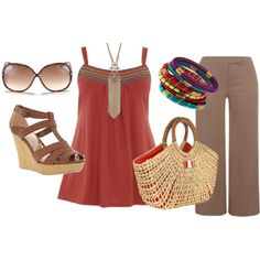 """""""Summer Rust - Plus Size Fashion -"""" by aracely26 on Polyvore"""