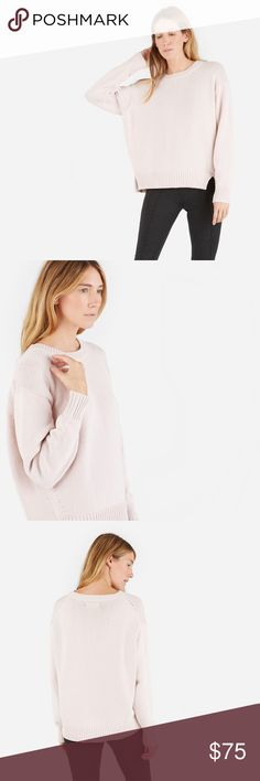 everlane • chunky knit boxy fit pale pink sweater With an uneven hem and ribbed trim, this is the cotton sweater we reach for on those not-quite-cold, not-quite-warm fall days.  • size XS • relaxed, boxy fit • 73% Cotton 27% Nylon • color: pale pink • new and never worn Everlane Sweaters Crew & Scoop Necks