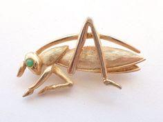 Vintage signed Boucher 0815P Grasshopper brooch rare figural AB204 #Boucher
