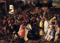 CARIANI, Giovanni (b. 1485, Venezia, d. 1547, Venezia)   Click! The Way to Calvary  c. 1519 Oil on canvas, 63 x 87 cm Pinacoteca Ambrosiana, Milan  Born in the province of Bergamo, Cariani learnt painting in Venice, probably in the workshop of Sebastiano del Piombo. He was one of the most intriguing of the second-rate artists to emerge in the first decades of the sixteenth century.