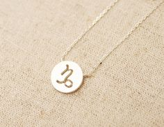 Capricorn. Zodiac Sign 925 sterling silver Disc necklace. Constellation, astrology. Birthday and wedding gift. DoubleBJewelry.