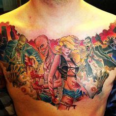 Zombie tattoo apocalypse tattoo chest tattoo full chest tattoo