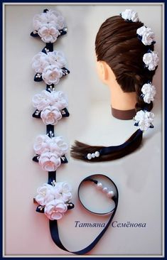Discover thousands of images about Cintia Rosa This Pin was discovered by Nat Cream Bridal Headpiece on Larg Hair Ribbons, Diy Hair Bows, Flowers In Hair, Fabric Flowers, Fabric Flower Headbands, Diy Braids, Barrettes, Hairbows, Ribbon Art