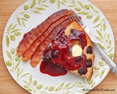Gourmet Girl Cooks: No-Flip Blackberry Buttermilk Pancakes w/ Fresh Blackberry Buttermilk Syrup - Low Carb