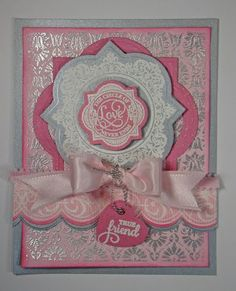 card designed by Angela Barkhouse using JustRite Papercraft Circle of Love Vintage Labels Three, Classic Art Deco Lace Edges One and Embroidered Background