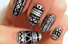 Diseños de uñas tribales faciles, diseño de uñas tribales espiga. Clic Follow,  #manicuras #nails #uñasfinas